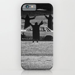 This Cult is Not a Cult! humorous black and white photograph iPhone Case