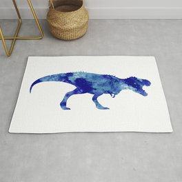 Blue T Rex Watercolor Painting Rug