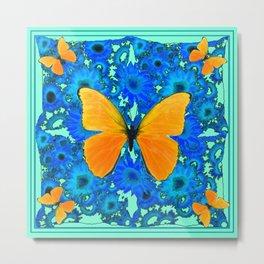 Aqua Colored Blue Floral Golden Butterflies Pattern Art Metal Print