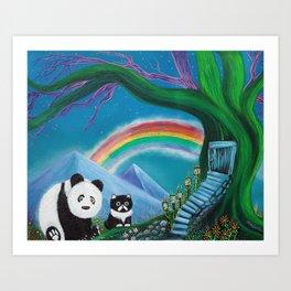 The Panda The Cat and The Rainbow Art Print