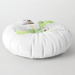 Simple Lines Green Flowers Floor Pillow