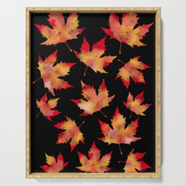 Maple leaves black Serving Tray