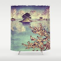 spring Shower Curtains featuring Watching Kukuyediyo by Kijiermono