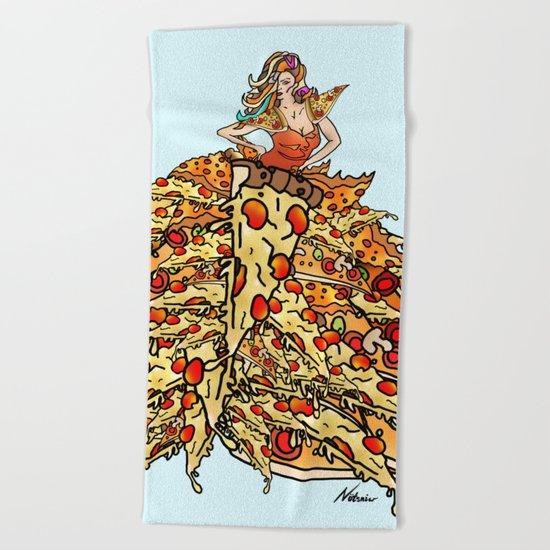 Pizza Peacock Mermaid Dress Beach Towel
