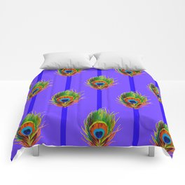 Decorative Contemporary  Peacock Feathers Art Comforters