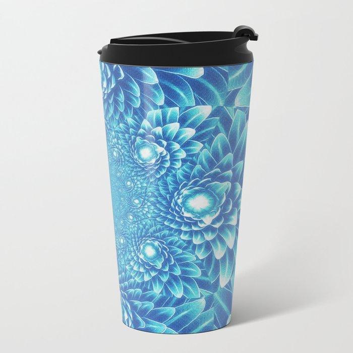 Fresh Modern Green Warp Cactus Pattern Fractal Art! Metal Travel Mug