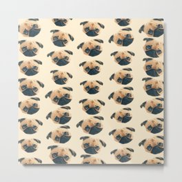 cartoon cute puppy dog fawn pug pattern Metal Print