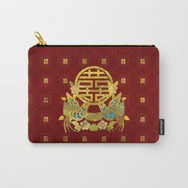 Gold Double Happiness Symbol with  birds Carry-All Pouch