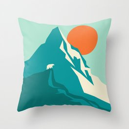 As the sun rises over the peak Throw Pillow