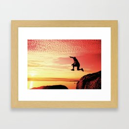 sunset jump Framed Art Print