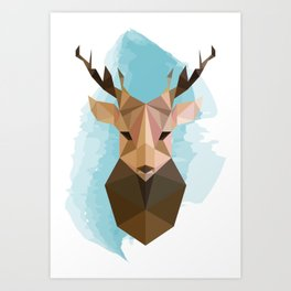 Geometric Deer Head Art Print