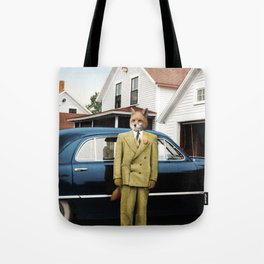 Mr. Fox posing with his new car Tote Bag