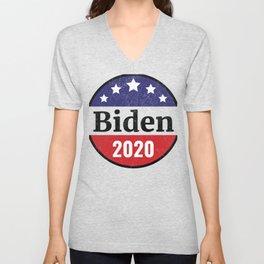 Biden 2020 Distressed Button Style Unisex V-Neck