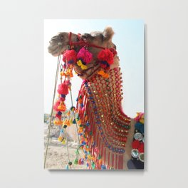 Boho Camel with Tassels and Pom Poms, in India Metal Print