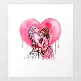 Bleeding Heart Lesbians in Love Art Print