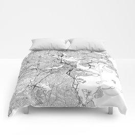 Boston White Map Comforters