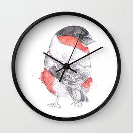 Bullfinch Illustrative Watercolour Bird Painting Wall Clock