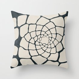 Organic Shapes in a Spiral, Cream on Charcoal Gray Throw Pillow