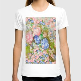 ROSES PINK AND PAINTERLY BLUE SO SHABBY CHIC T-shirt