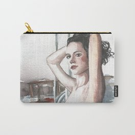 Original erotic watercolor painting NUDE GIRL POSING Waves Carry-All Pouch