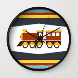 Kids Toy Train Stripes Wall Clock
