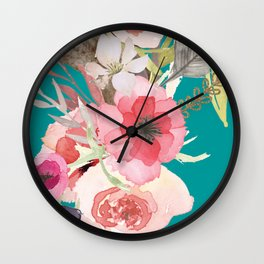 Flowers , floral , shabby chic décor,  flower decor , Wall Clock