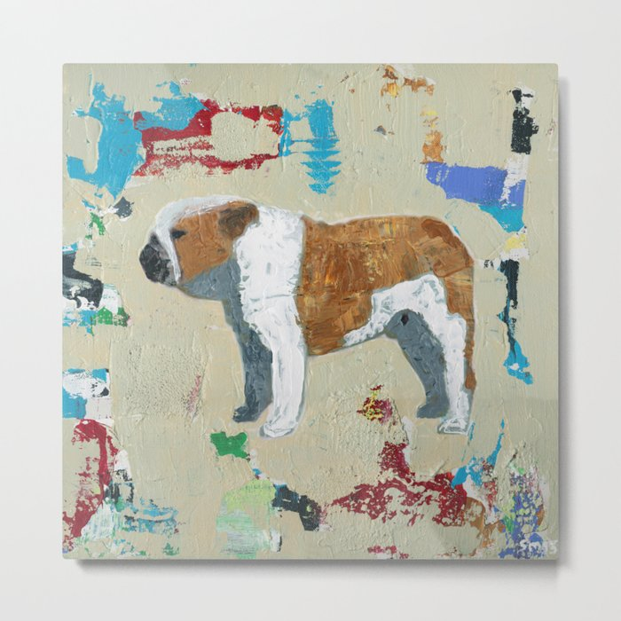 English Bulldog Abstract Art Metal Print