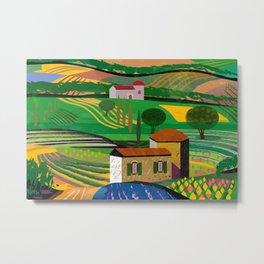 Farm House in fields Metal Print