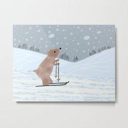 Bear Skiing Metal Print