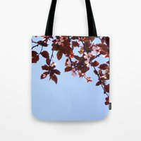 cherry blossom Tote Bags featuring Cherry Blossom by madbiffymorghulis