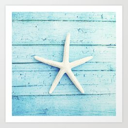 Starfish Beach Photography, Aqua Seashell Art, Coastal Nautical Photograph Art Print