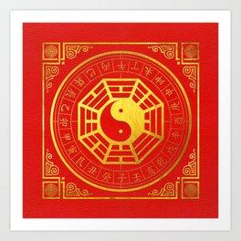 Golden Bagua Feng Shui Symbol on Faux Leather Art Print