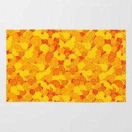 swirl pattern yellow orange Rug