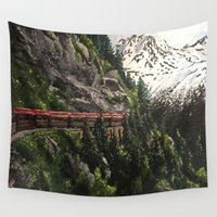alaska Wall Tapestries featuring Alaska Train by Megan Coyne