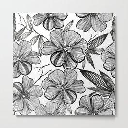Monochrome Blow Ups hand drawn black white anemone flowers pattern Metal Print