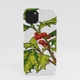 Black Outline Art Of Christmas Holly iPhone Case