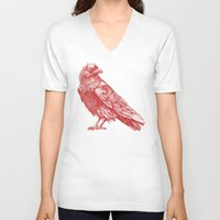 raven V-neck T-shirts featuring Red Raven  by Terry Fan