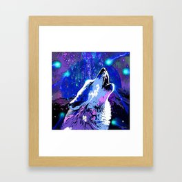 WOLF MOON AND SHOOTING STARS Framed Art Print