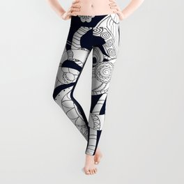 black floral doodle pattern with watering can Leggings