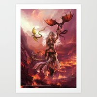 "daenerys Art Prints featuring Daenerys Targaryen ""A Song of Ice and Fire"" ( A Game of Thrones ) by Magali Villeneuve"