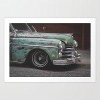 Old Green Car in Cuba Art Print