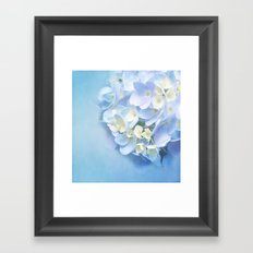 BLUE HYDRANGEA LOVE Framed Art Print