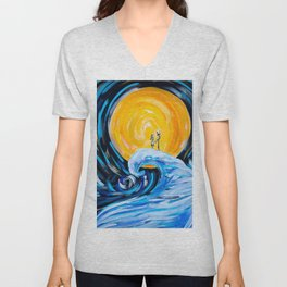 Starry Spiral Hill Night Painting Unisex V-Neck