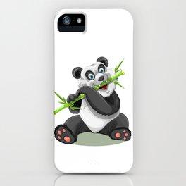 Happy panda bear eating bamboo iPhone Case