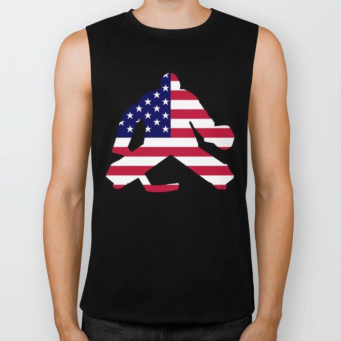 American Flag Goalie Biker Tank