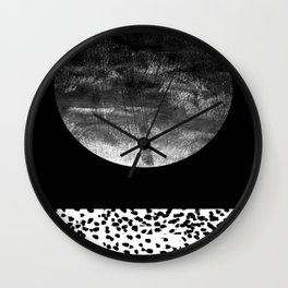 Maru - moon abstract painting texture black and white monochromatic urban brooklyn nature city Wall Clock