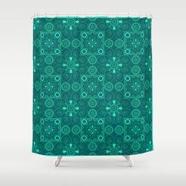 Retro .Vintage . Turquoise openwork ornament . Shower Curtain