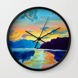 Crossing Lake Okanagan Wall Clock