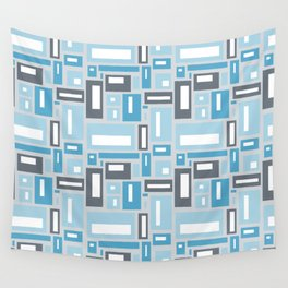 Geometric Pattern in Blue and Gray Wall Tapestry