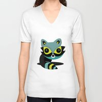 raccoon V-neck T-shirts featuring Raccoon by Maria Jose Da Luz